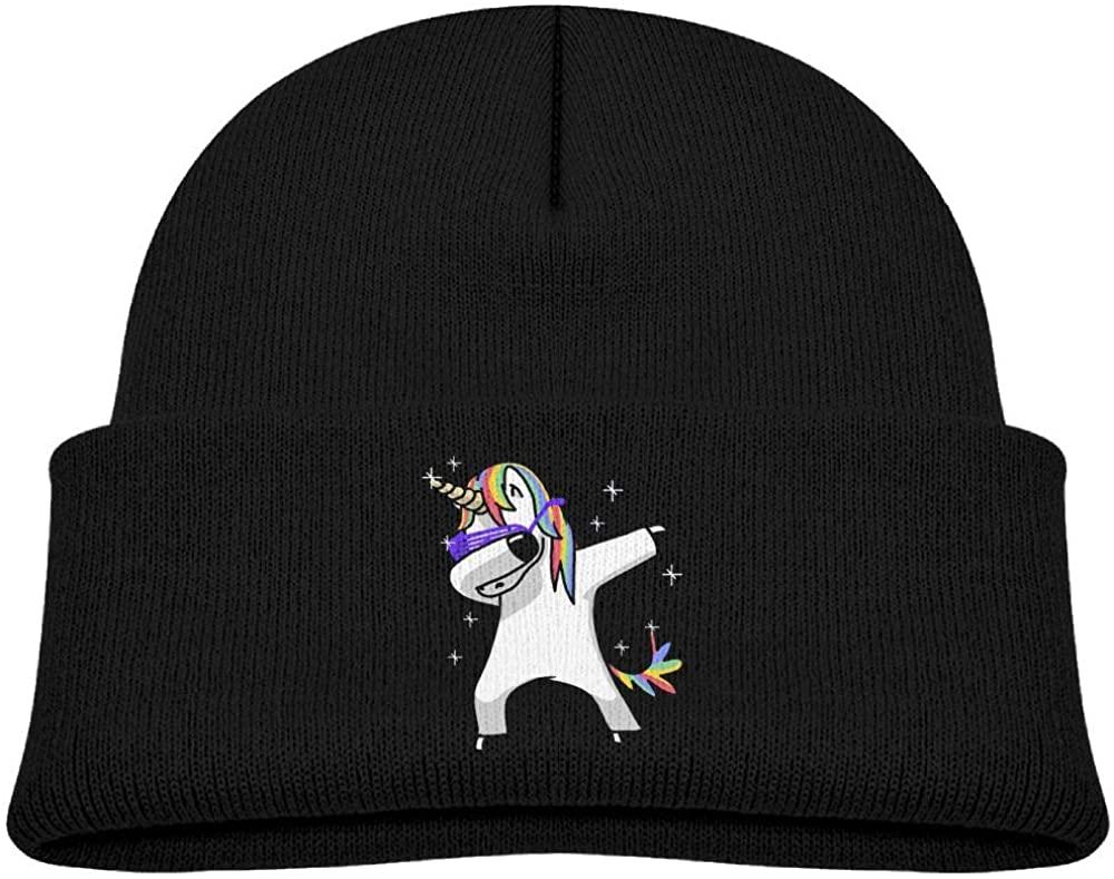 Baby Boys Girls Unicorns Dabbing Kint Beanie Hats Toddler & Kids Winter Warm Kinted Caps(2-6T)