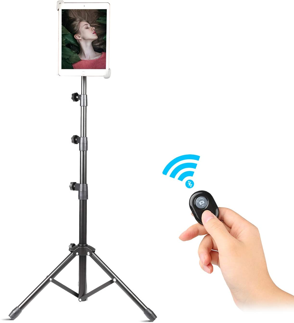 Tripod Stand for iPad Video Recording, Up to 55 Inch Height Adjustable Foldable Floor Tablet Stand with 360° Rotating Holder, Samsung and More 7.9