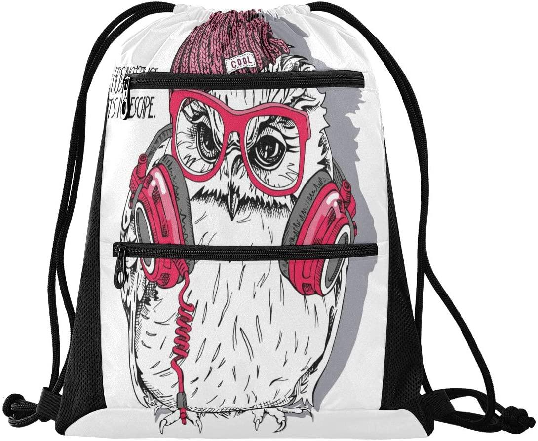 N /A Drawstring Backpack Bag Cute Rainbow Cow DJ Gym Bag, Draw String Bags, Cinch Sack