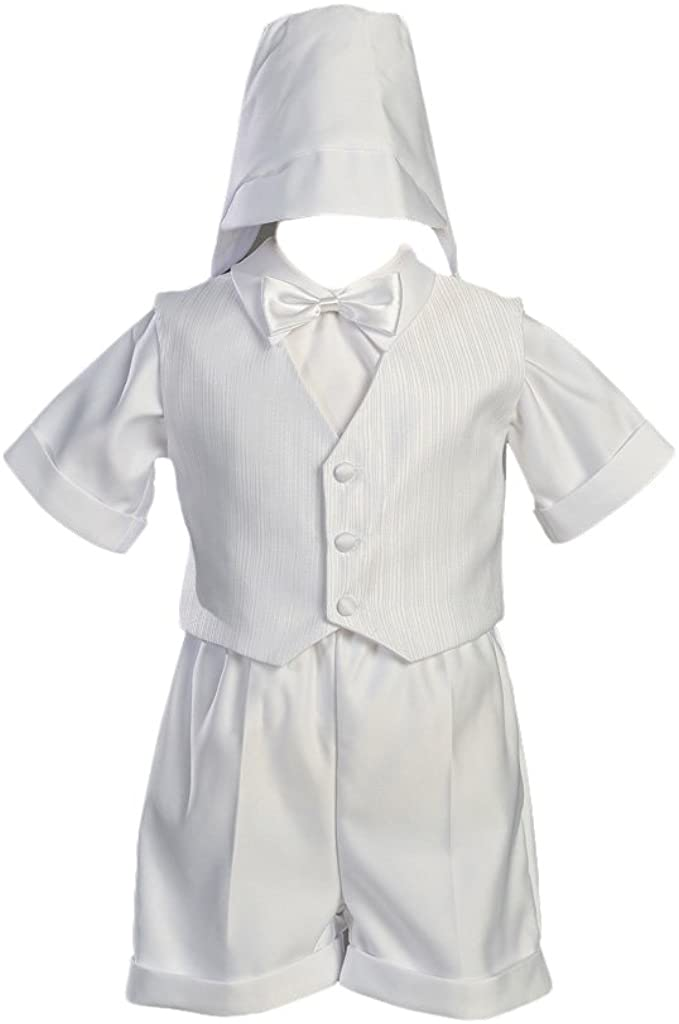 White Satin Christening Baptism Short Set with Vest and Hat - S (3-6 Month)