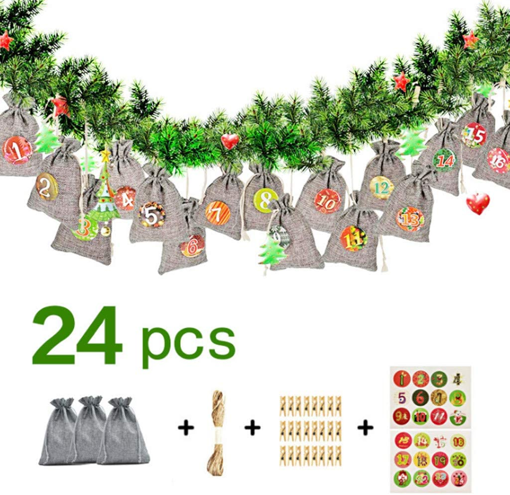 Christmas Gift Bags Drawstring Burlap Bags, 1-24 Advent Calendar Bundle Cotton Linen Gift Bag for Party Favors Gifts and Candy (Burlap Bags)