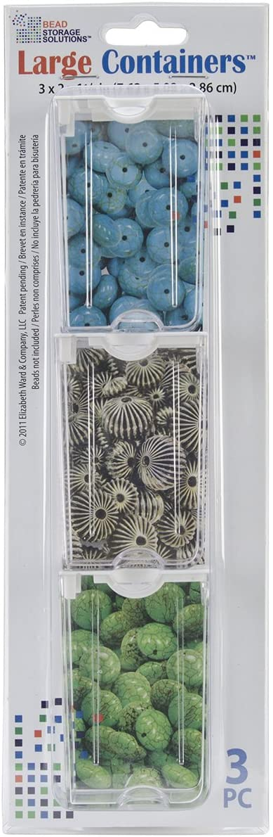 """Darice Se Elizabeth Ward Solutions Clear Plastic Storage Containers (3pc) – Large – Organize Beads, Jewelry Making and Craft Supplies, Earrings and More – Securely Snaps Shut, 3"""" x 2"""" x 1, 1 Pack"""