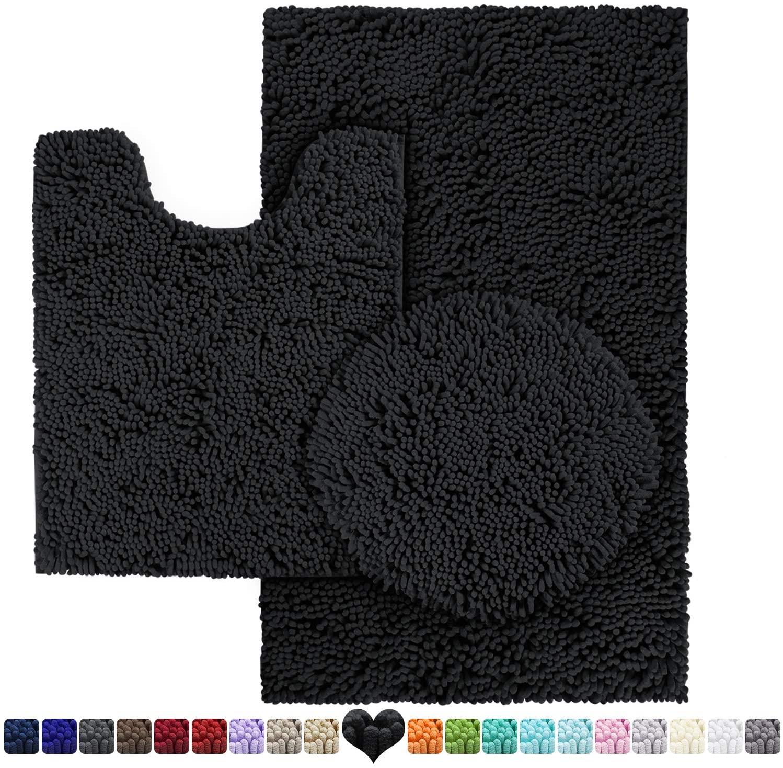 HOMEIDEAS 3 Pieces Bathroom Rugs Set Black, Includes U-Shaped Contour Toilet Mat, Bath Mat and Shaggy Toilet Lid Cover, Machine Washable & Non Slip Bath Rugs for Bathroom, Tub, Shower