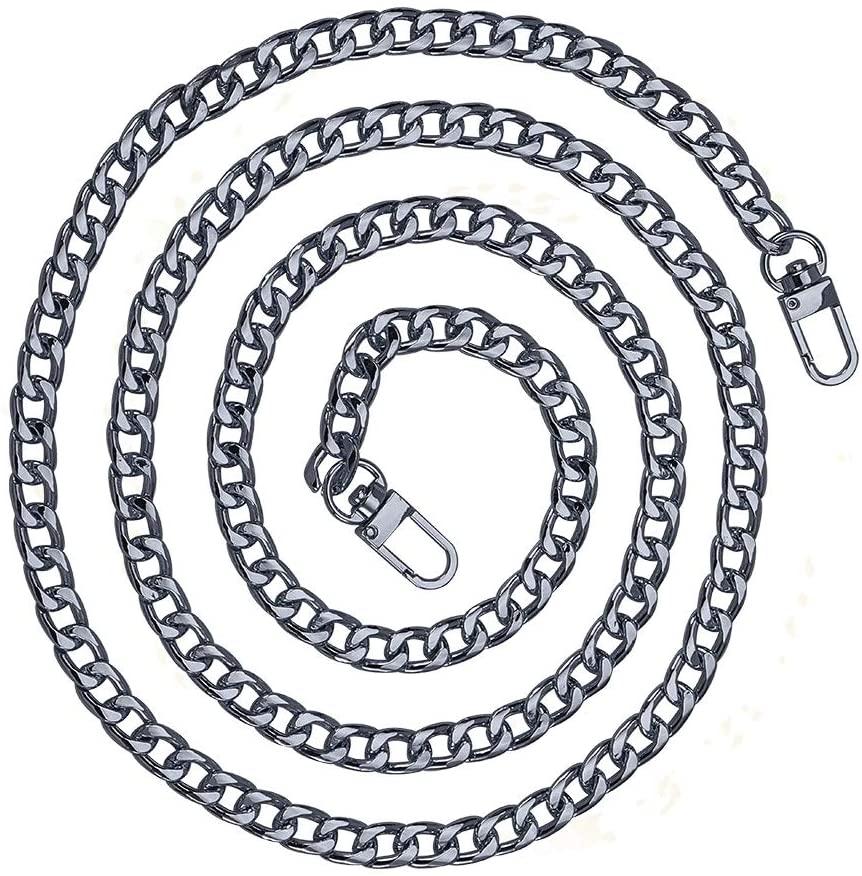 SUPERDANT 63inch DIY Iron Flat Chain Strap Handbag Chains Accessories Purse Straps Shoulder Cross Body Replacement Straps-with 2pcs Metal Buckles,Gunmetal