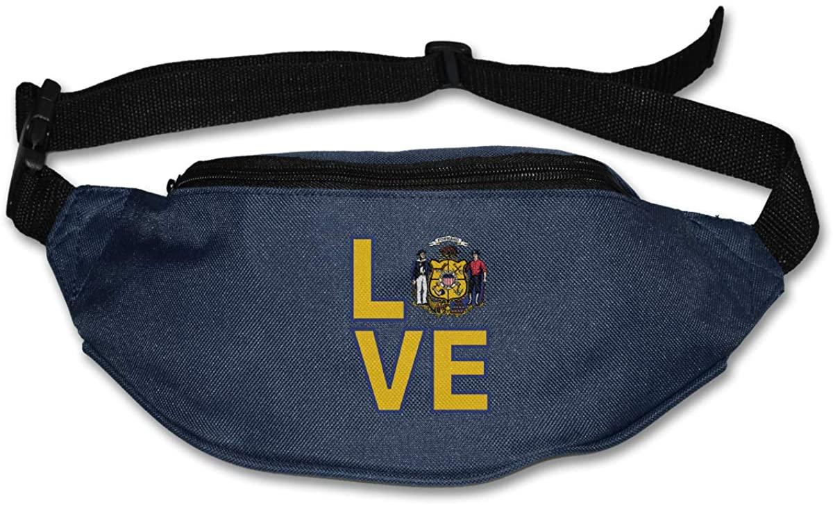 Love Wisconsin State Flag Element Design Unisex Waist Pack Bag Belt