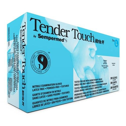 Sempermed TTNF205 Tender Touch Nitrile Glove, 4 Mil, Powder-Free, X-Large, Blue (Case of 1800)