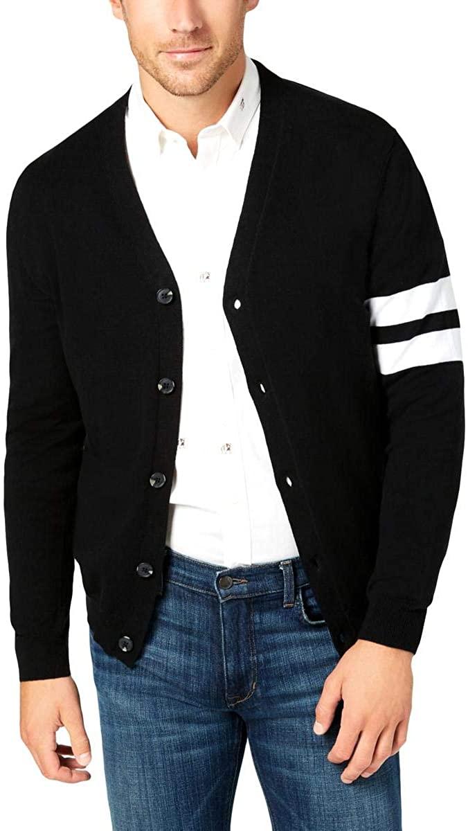 Club Room Mens Striped Sleeve Button Cardigan Sweater Black XL