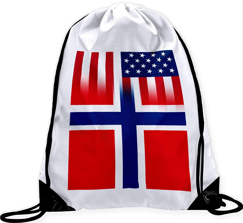 ExpressItBest Large Drawstring Bag - Flag of Norway (Norwegian)
