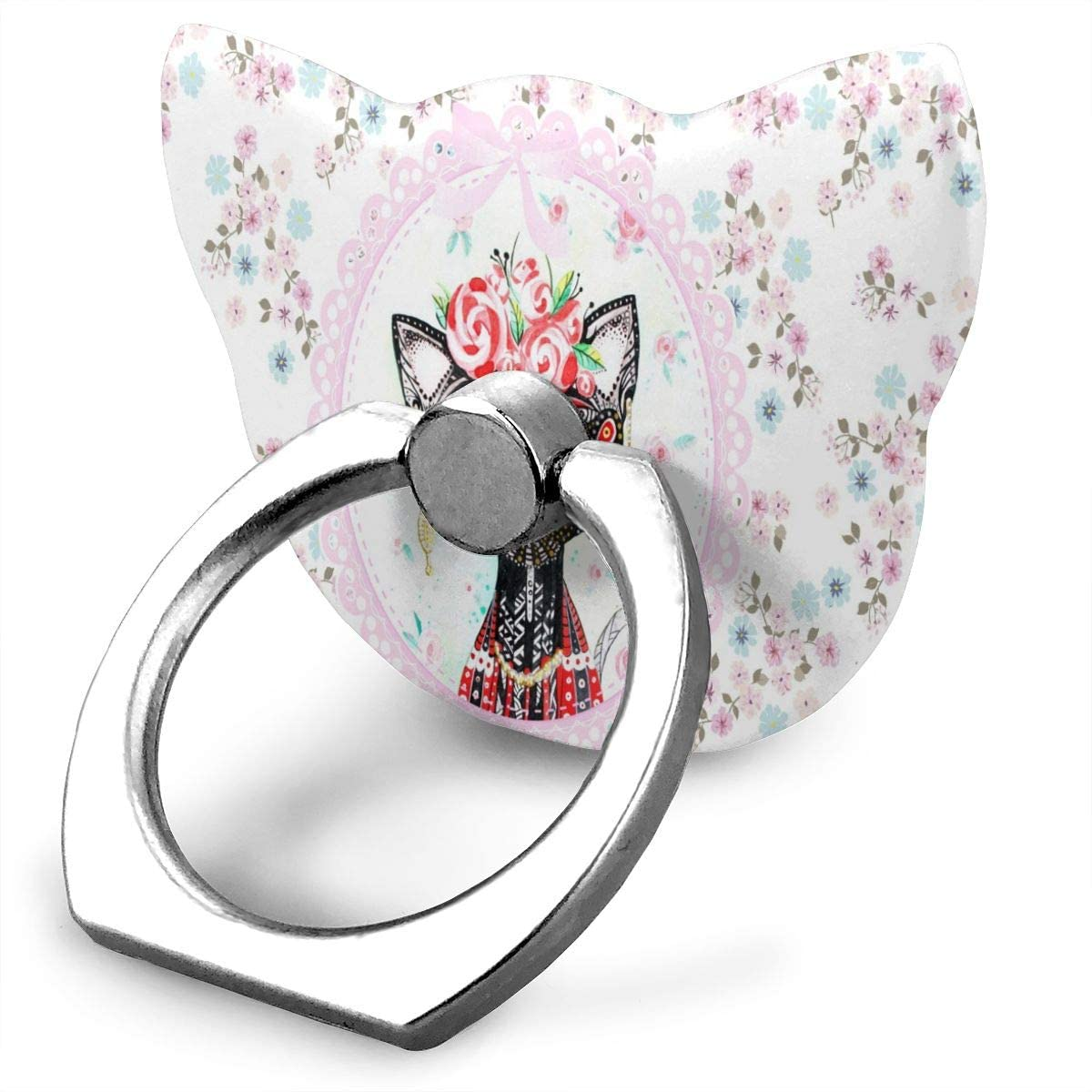 Universal Phone Ring Holder Cute Cat and Bird Cat Shape Cell Phone Ring Stand Adjustable 360°Rotation Finger Kickstand Grip-Silver Mobile Phone Stand for Women Kids Men Ladies Smartphones
