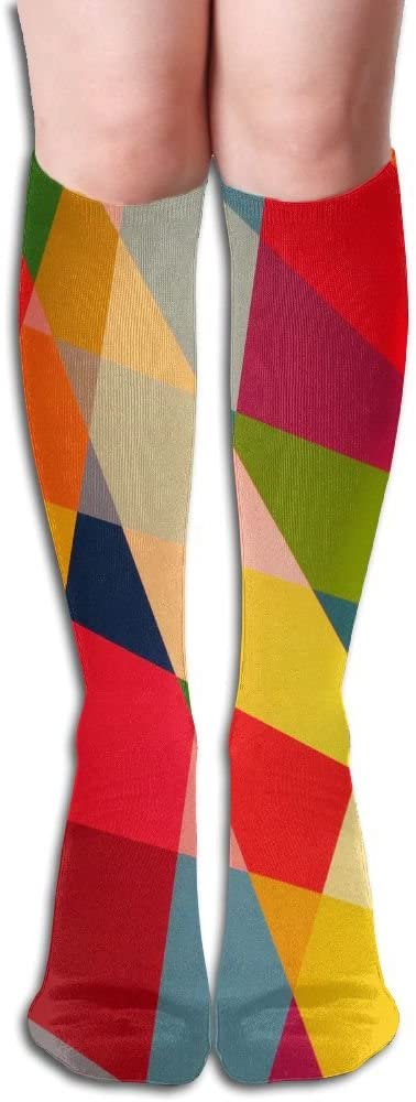 MASDUIH Color Diamond Pattern Knee High Crew Socks Knee High Stockings