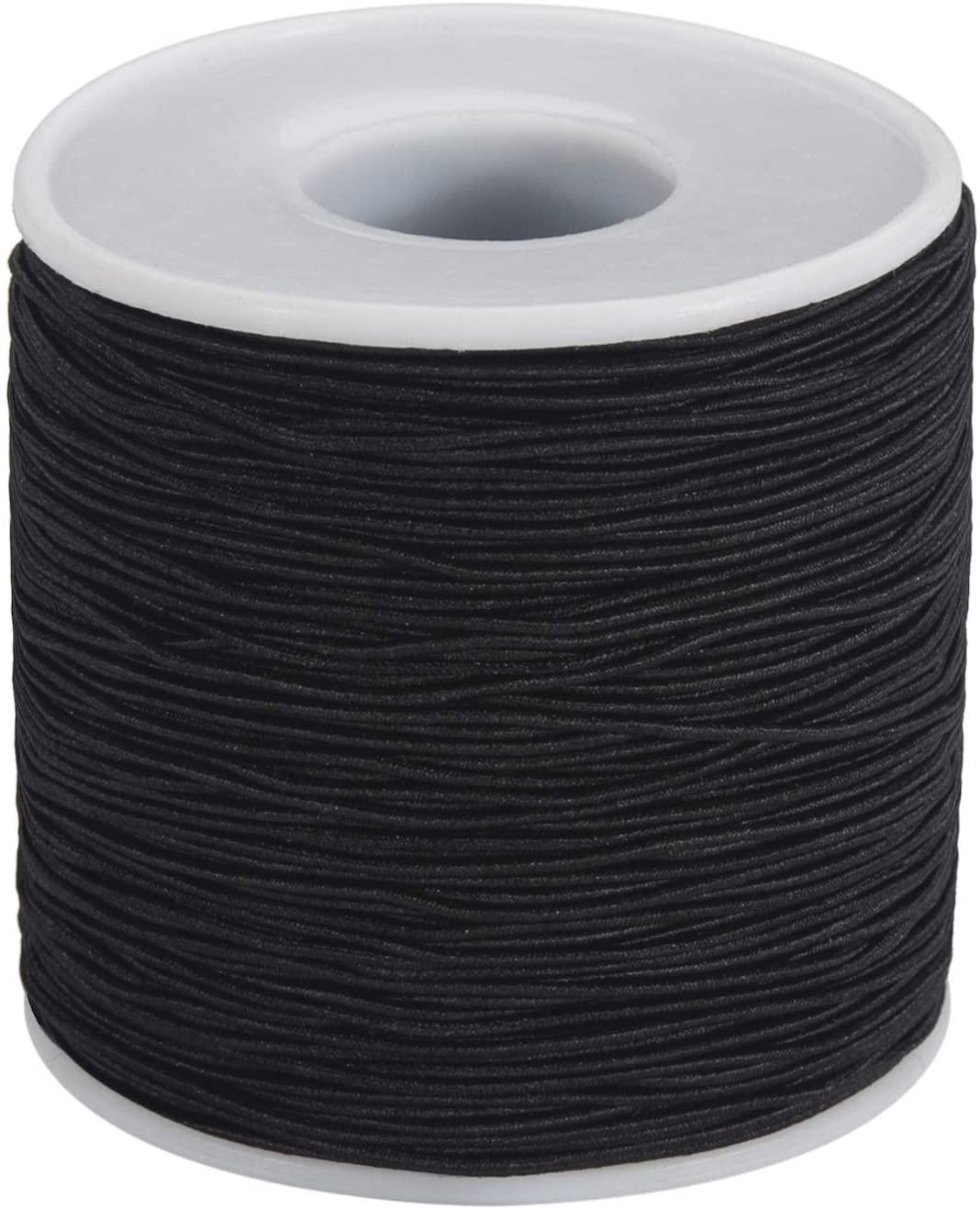 1mm Elastic Cord Beading Cord (164 Yards) Elastic String Gewelry Stretchy Cord Crafting Cord, Stretchy String for Bracelet, Beading Thread for Jewelry Making (Black)