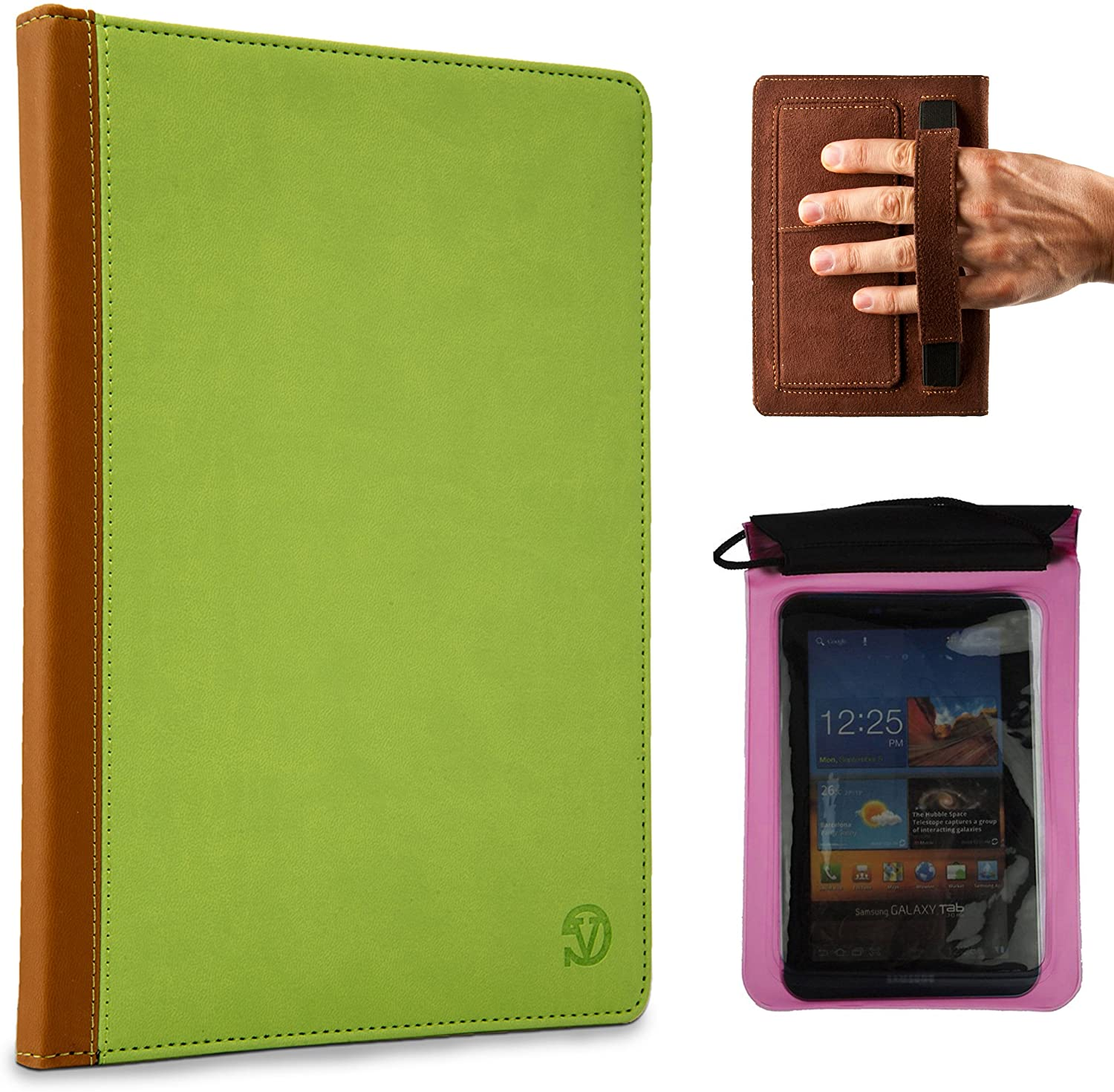Mary Portfolio Lightweight Hard Cover for HP Mesquite 7 inch Tablet and Pink Waterproof Sleeve