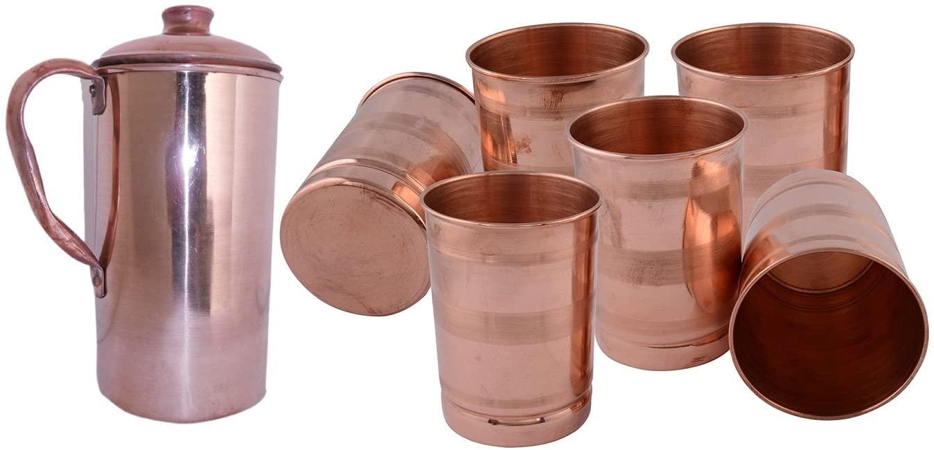SHIV SHAKTI ARTS Handmade Pure Copper Plane Jug No 6 Volume 2 Liter With 6 Copper Glass Volume 300 Ml Indian Yoga Ayurveda For Good Health Benefits