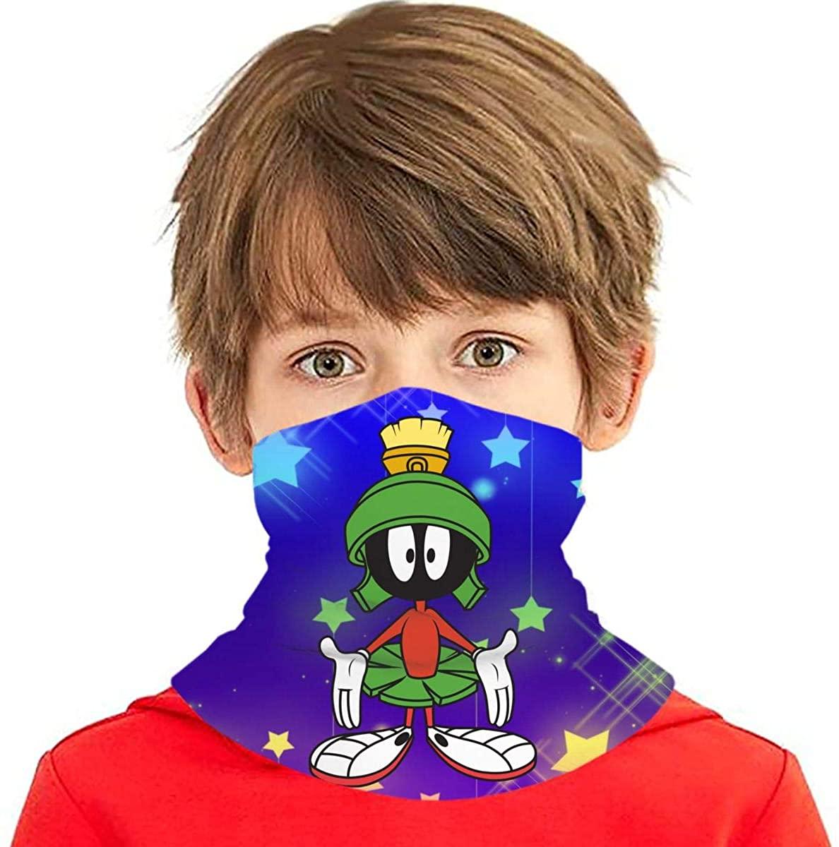 Marvin-Martian Fashion Kids Bandana Ear Loops Neck Gaiter Scarf Dust Uv Protection For Boys Girls