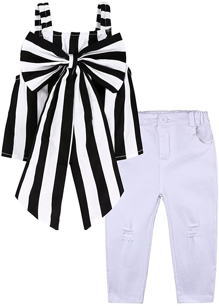 Kids Baby Girl 2Pcs Outfit Set Black Striped Bowknot Top White Jeans Long Pants