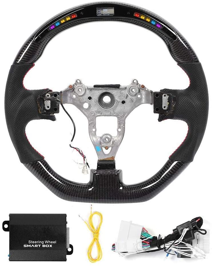 Steering Wheel, LED Performance Carbon Fiber Race Display Steering Wheel Nappa Preforated Leather W/Red Stitching Fit for Nissan Skyline GT-R R34 1999-2002