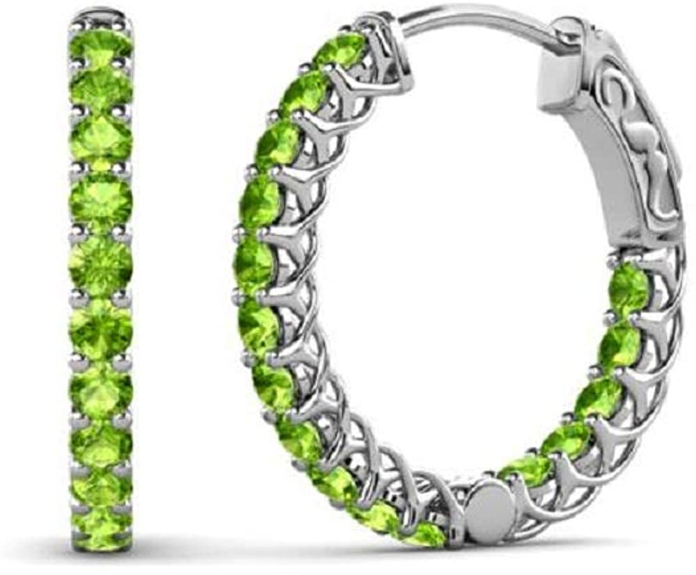 Beautiful 0.88Ct tw Round Cut Created peridot Fashion Party Wear Inside-Out Hoop Earrings For Girls Womens .925 Sterling Sliver