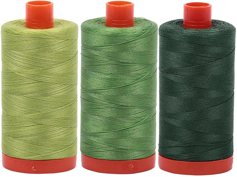 Aurifil Mako 100% Cotton 50wt Thread 3 Large 1422yd Spools: Grass Green + Spring Green + Pine Green (1231+1114+2892)