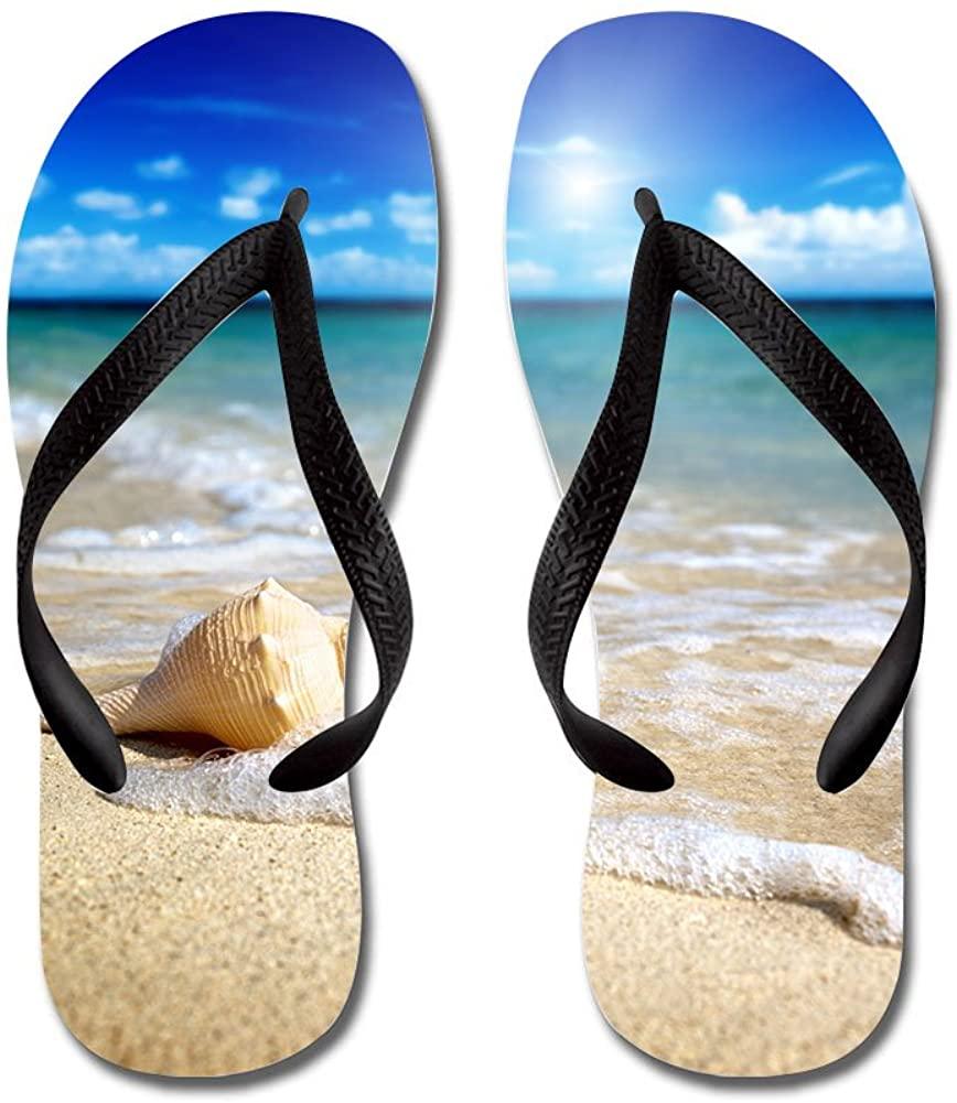 JKYUKO Beautiful Beach Sea Snail flip Flops
