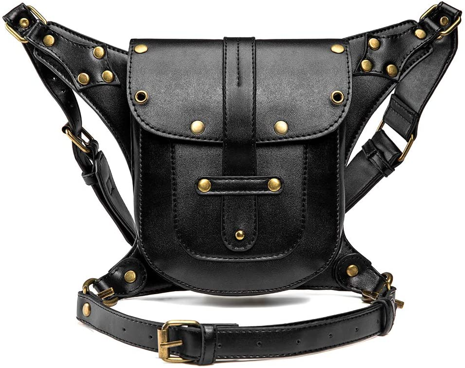HPZSX Leather Fanny Pack for Women Steampunk Belt Gothic Leather Shoulder Crossbody Steampunk Belt Bag for Women(3 Ways)