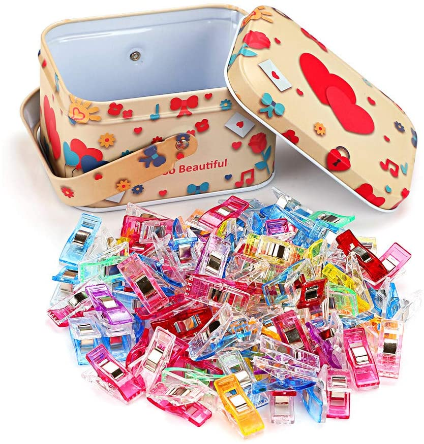 Sewing Clips Multipurpose Plastic Wonder Clips for Sewing Quilting Clips with Tin Box Pack of 100 Mini Magic Sewing Crafts Clips Binding Clips for Quilting Sewing, Binding, Craft, Crochet, Knitting
