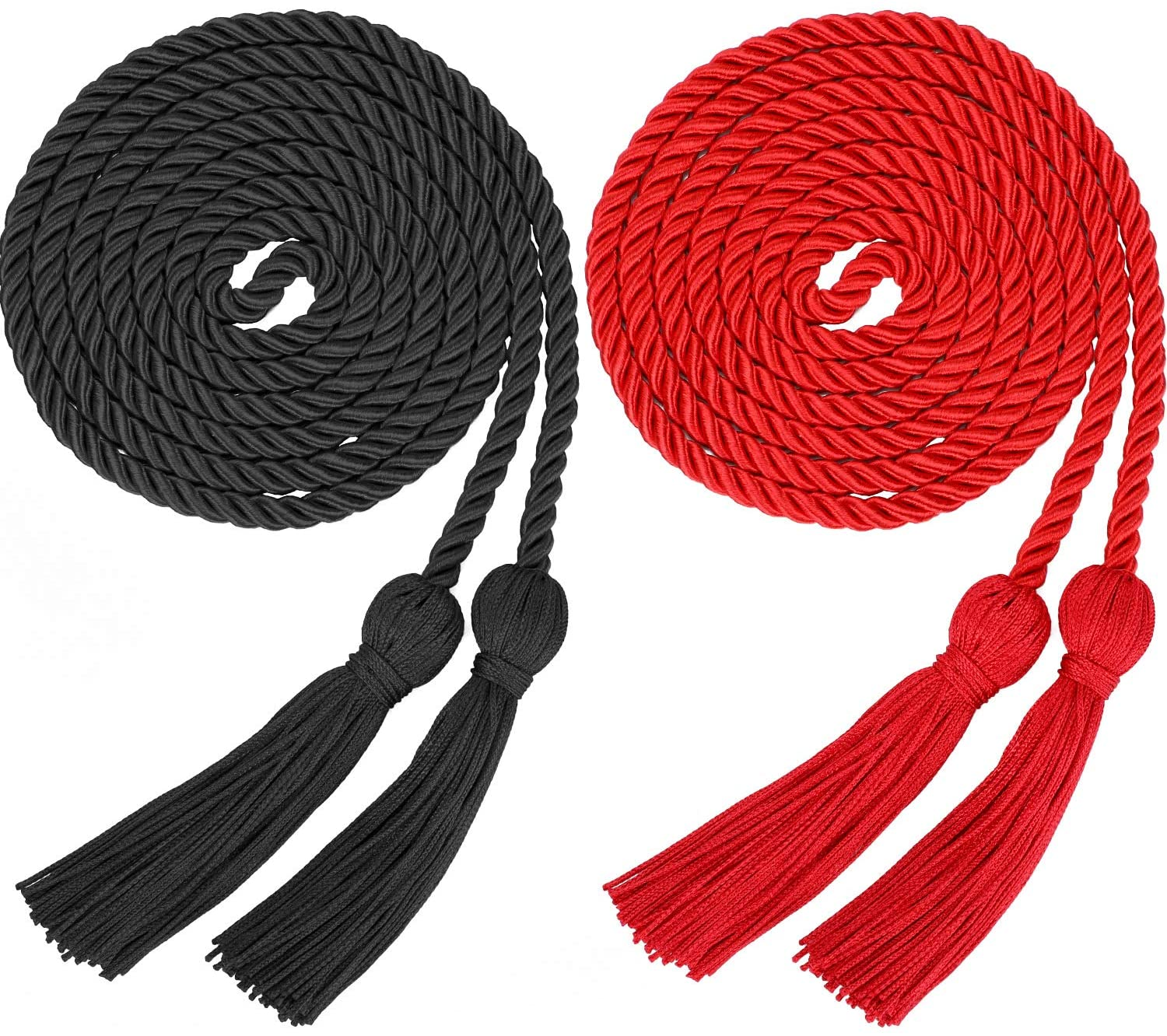 Yaomiao 2 Pieces Graduation Cords Polyester Yarn Honor Cord with Tassel for Graduation Students (Black and Red)