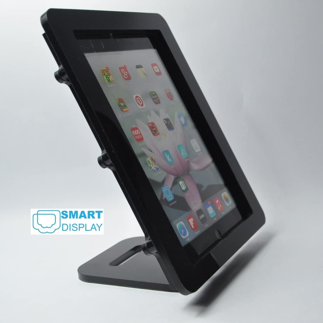 TABcare Compatible iPad Air VESA Secureity Enclosure with Desktop Mount Stand, Black Acrlyic Material for POS, Kiosk, Store Display, Show Display, Square Card Reader