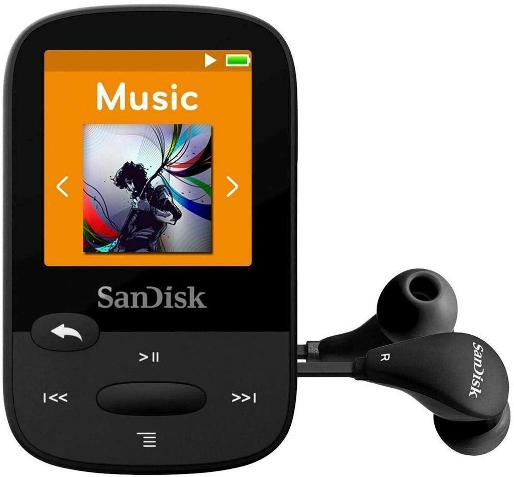 SanDisk SDMX28-016G-G46K Clip Sport Plus MP3 Player, 16GB (Black) (Renewed)
