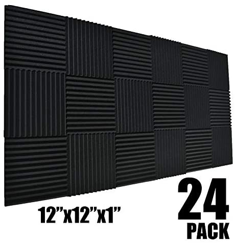 24 Pack Black 1 x 12 x 12 Acoustic Wedge Studio Foam Sound Absorption Wall Panels (24pack-black)