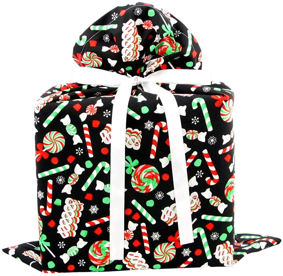 Christmas Candy on Black Reusable Fabric Gift Bag (Large 20.5 Inches Wide by 27 Inches High)