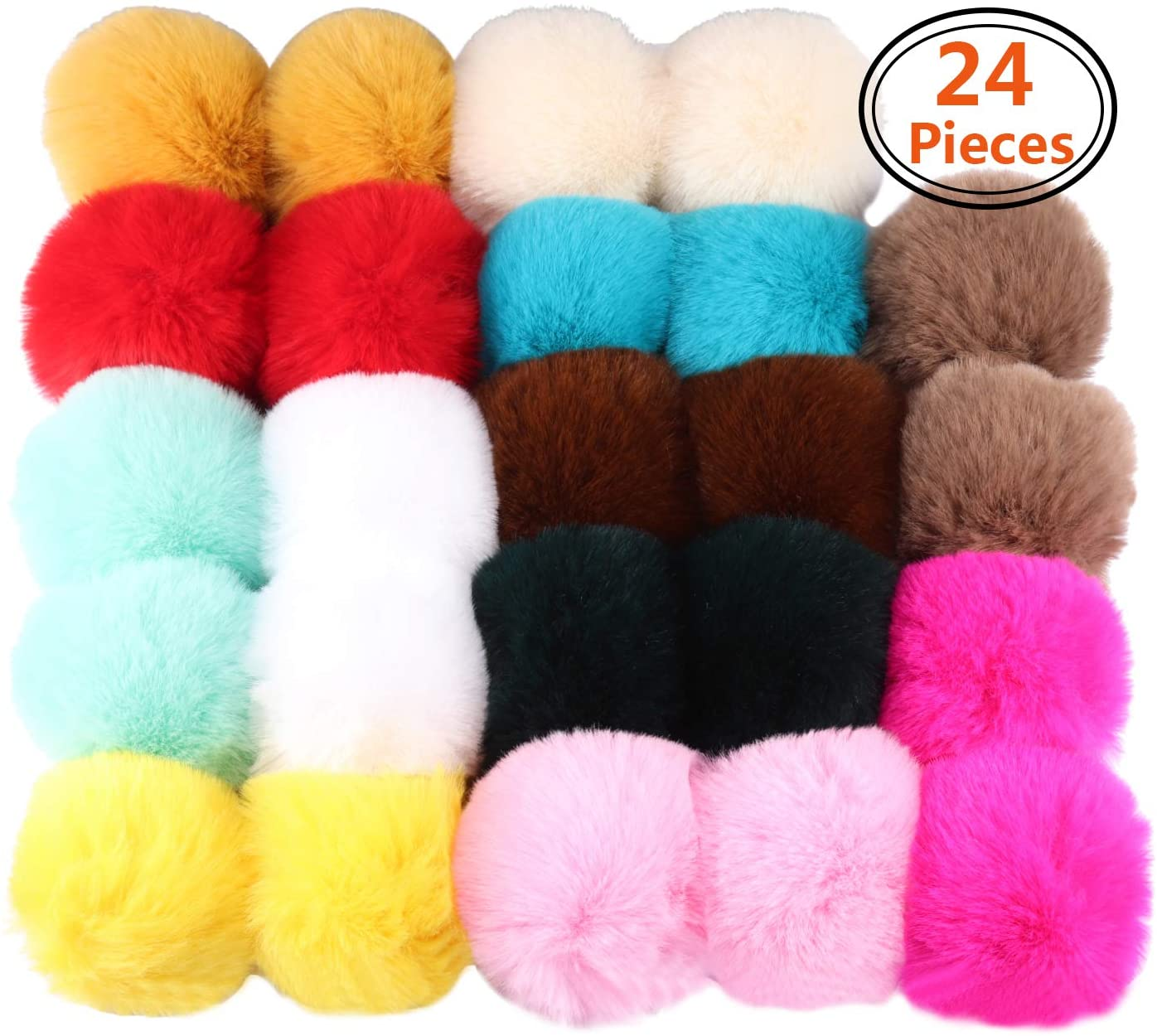 Forise 24 Pieces Colorful Faux Fur Pom Poms Ball DIY Fur Fluffy Ball with Elastic Loop for Knitting Hats Scarves Gloves Bag Charms