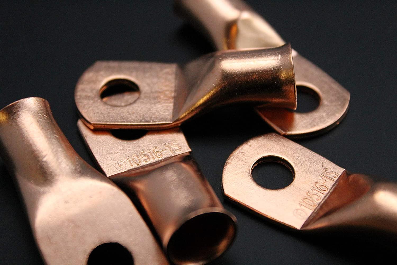 1/0 Gauge Copper 5/16 Ring 10 PK Crimp Battery Lug Terminal Connector AWG GA CAR Eye CUR10516