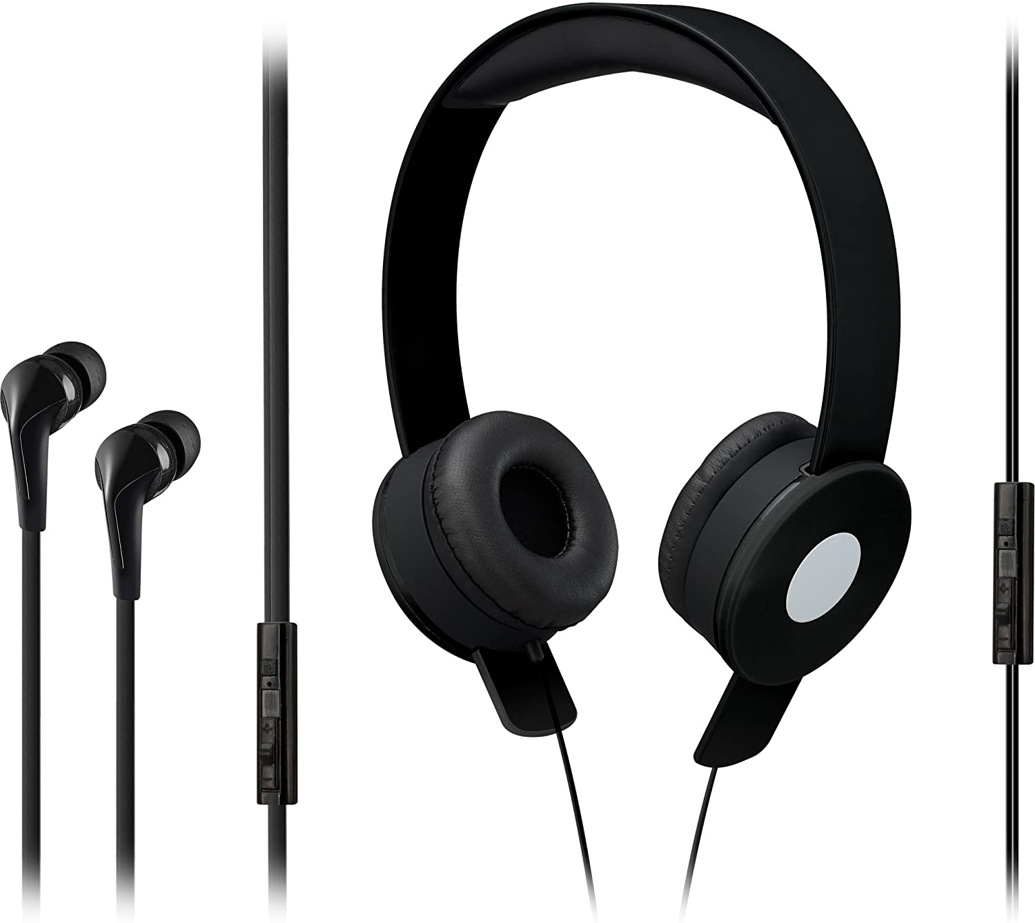 iLive iAHV65BDLB On-Ear Twistable Headphone and Earbud Combo Pack, with Microphone Black