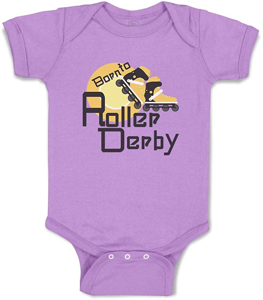 Custom Boy & Girl Baby Bodysuit Born to Roller Derby Sport Funny Striped Clothes