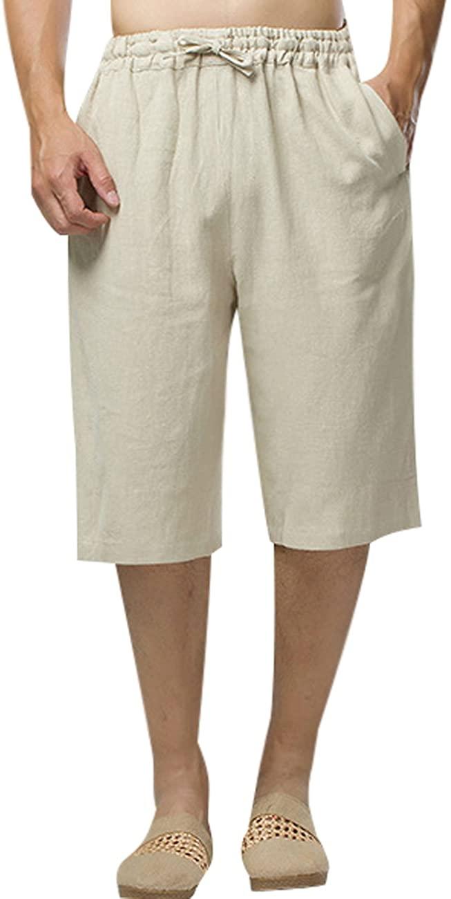 Zoulee Men's Summer Elastic Waist Linen Shorts Beach Shorts Breathable and Comfortable Half Pant