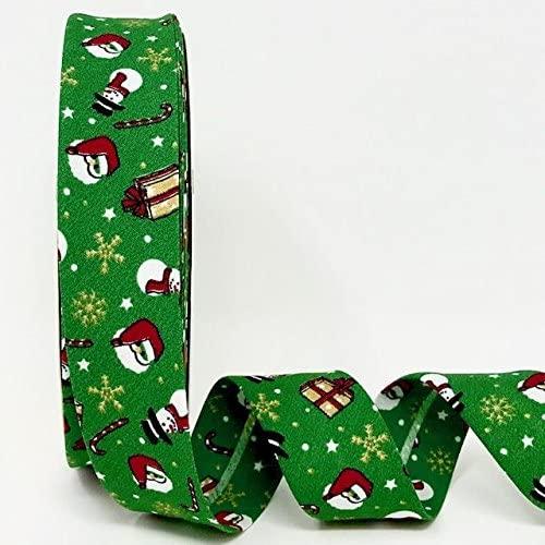 Byetsa Green Snowman Christmas Print 30mm Bias Tape on a 25m Roll