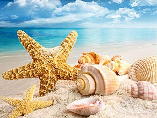 Diamond Painting Beach, 5D Full Drill Diamond Painting Starfish Shells Paint by Numbers Kits for Adults Kids DIY Gem Art Kit Tools Beach Home Decor 16 x 12 inches
