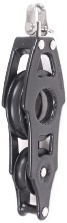 Nautos #92001-Organic line-Fiddle Swivel with Becket - 57 mm sheave Diameter-Aluminum & Composite for Less Friction and high Resistance. Sailboat Hardware