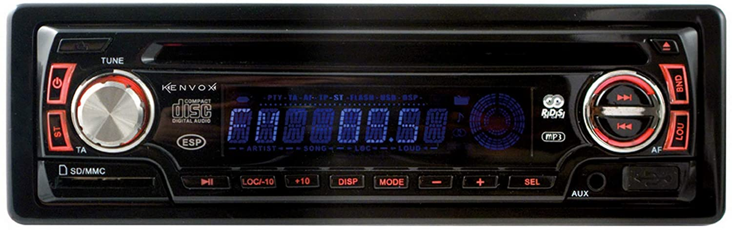 Kenvox M-110037 AM/FM Car Radio with RDS, CD Player, USB, SD and AUX Input