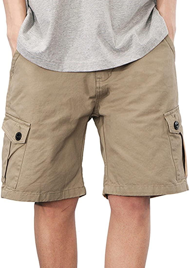 Men's Classic-Fit Cargo Short Cotton Loose Fit Multi Pocket Cargo Shorts