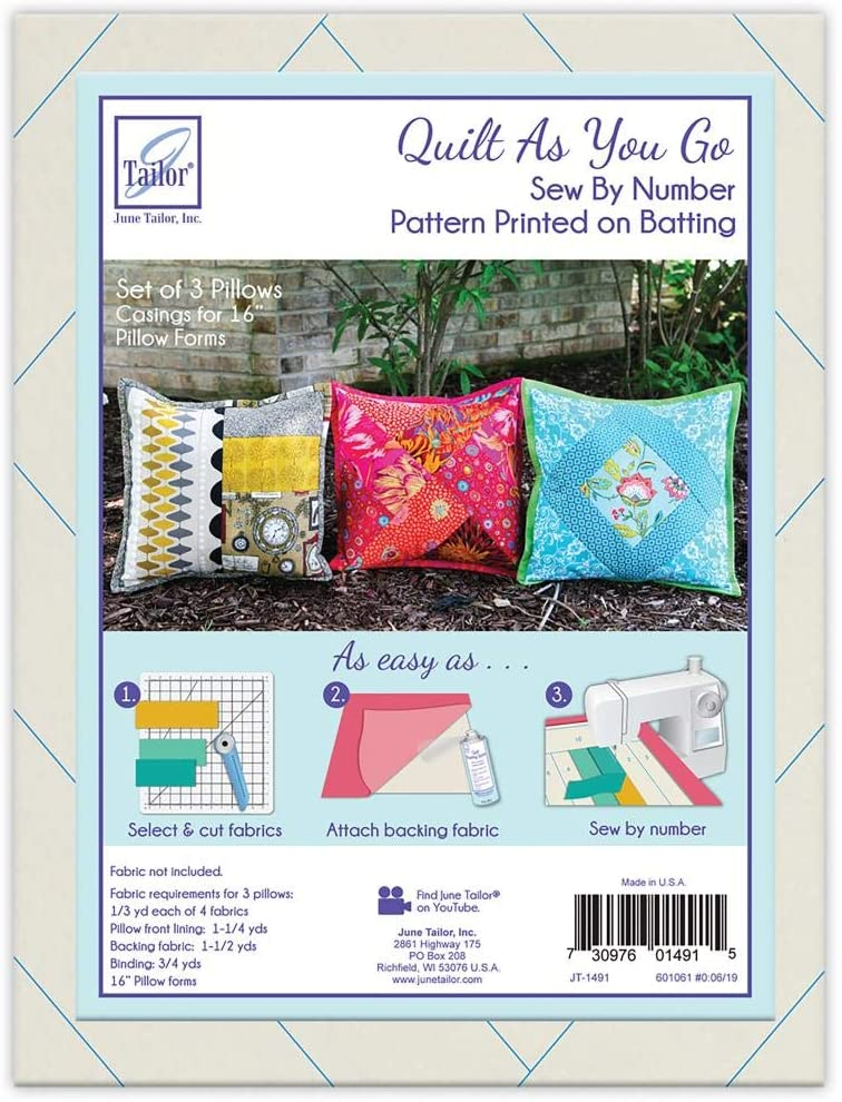 June Tailor Inc Quilt As You Go Pillow Covers 3pk Fusible, white