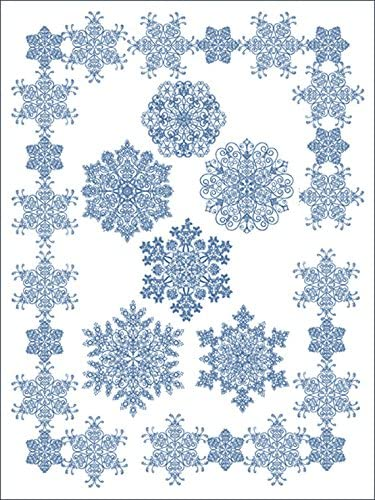 ThreaDelight ABC Machine Embroidery Designs Set - Crystal Snowflakes - 8 Designs, 5x7 Hoop