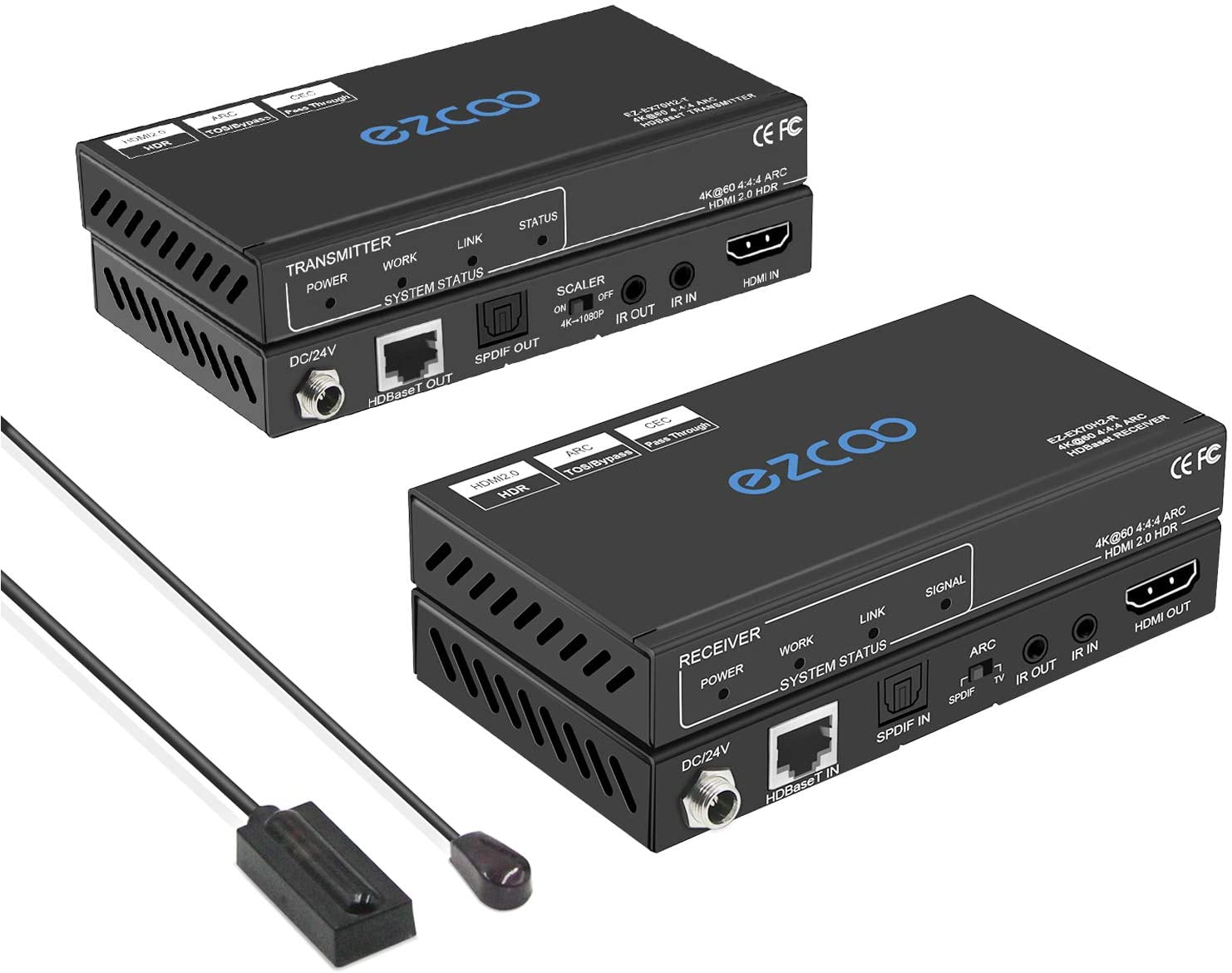 HDMI 2.0 Extender ARC 4K 60Hz (4:4:4 8bit) HDR10 18Gbps by Cat5e Cat6 with SPDIF Toslink,Bi-Directional PoE+IR+CEC - 230ft 1080P,130ft 4K HDCP2.2, Atmos,DTS:X,4K Down-Scale,Slim Mini Case EX70H2
