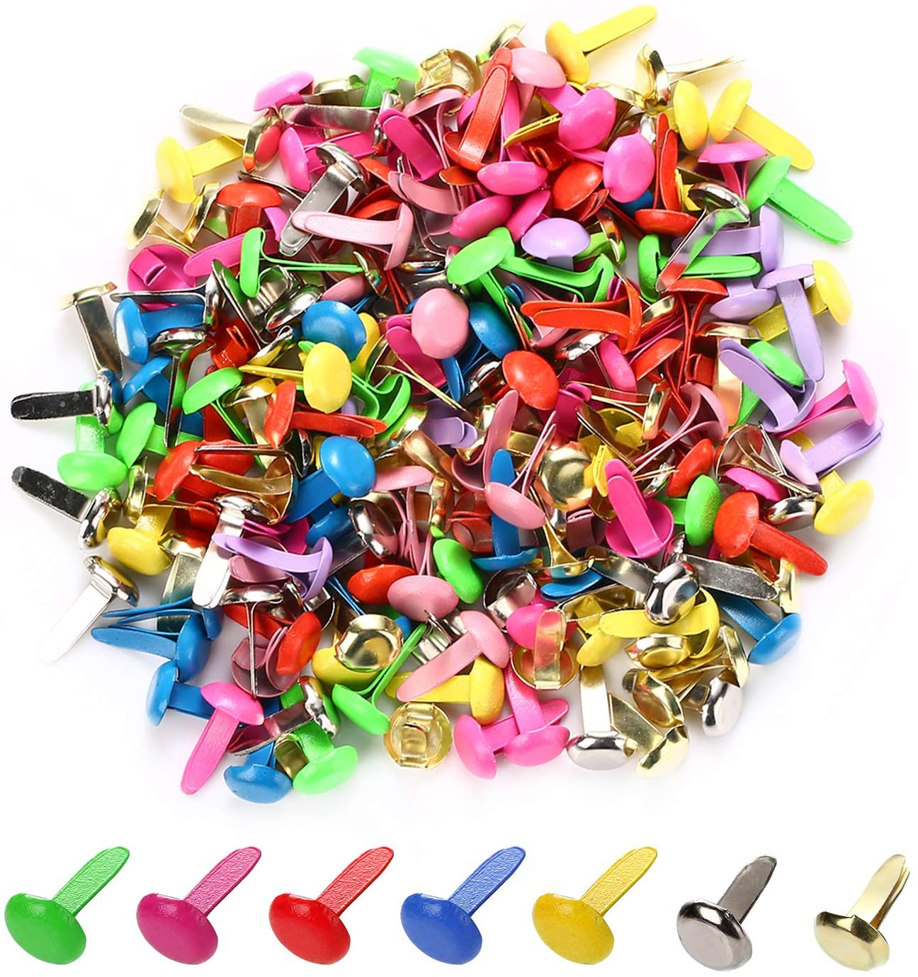 moinkerin 200 Pcs Mini Brads Metal Brad Fasteners Split Pins Pastel, 8mm x 12mm Multicolor Round Brads for Paper Craft DIY Stamping Scrapbooking