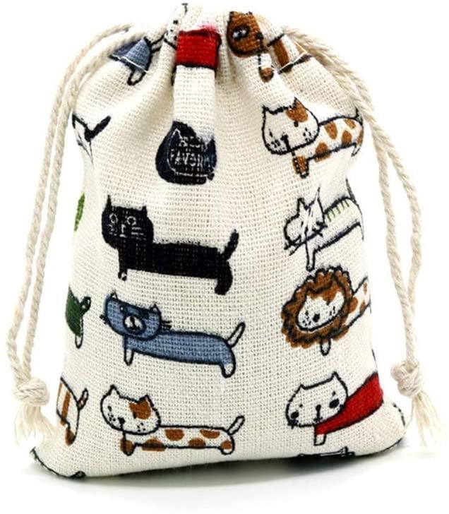 Xihouxian 50 Gift Bags - Cute Kitten Cotton Yarn Bag, Drawstring Opening, Wedding/Makeup Bag, White Small Gift Bag (9x12cm) Gift Bag and Tissue