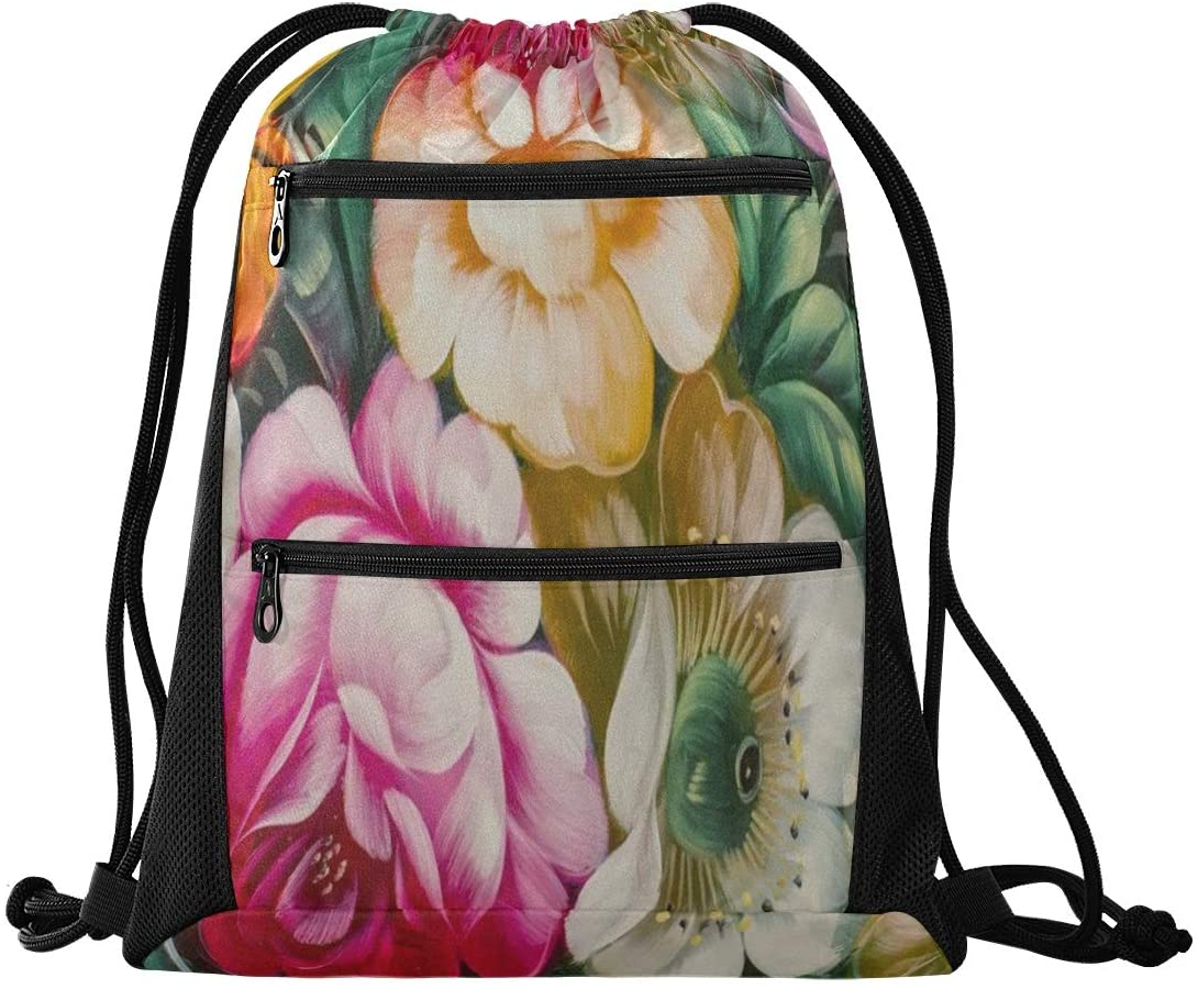 N /A Drawstring Backpack for Women Men Watercolor Flower Gym Bag Drawstring Backpacks Boys