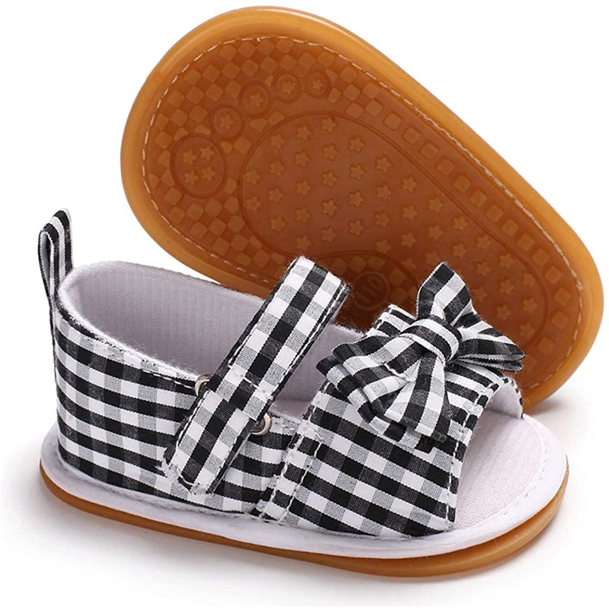 ENERCAKE Infant Baby Girls Sandals Flower Non-Slip Soft Rubber Sole Summer Shoes Toddler First Walker Crib Shoes