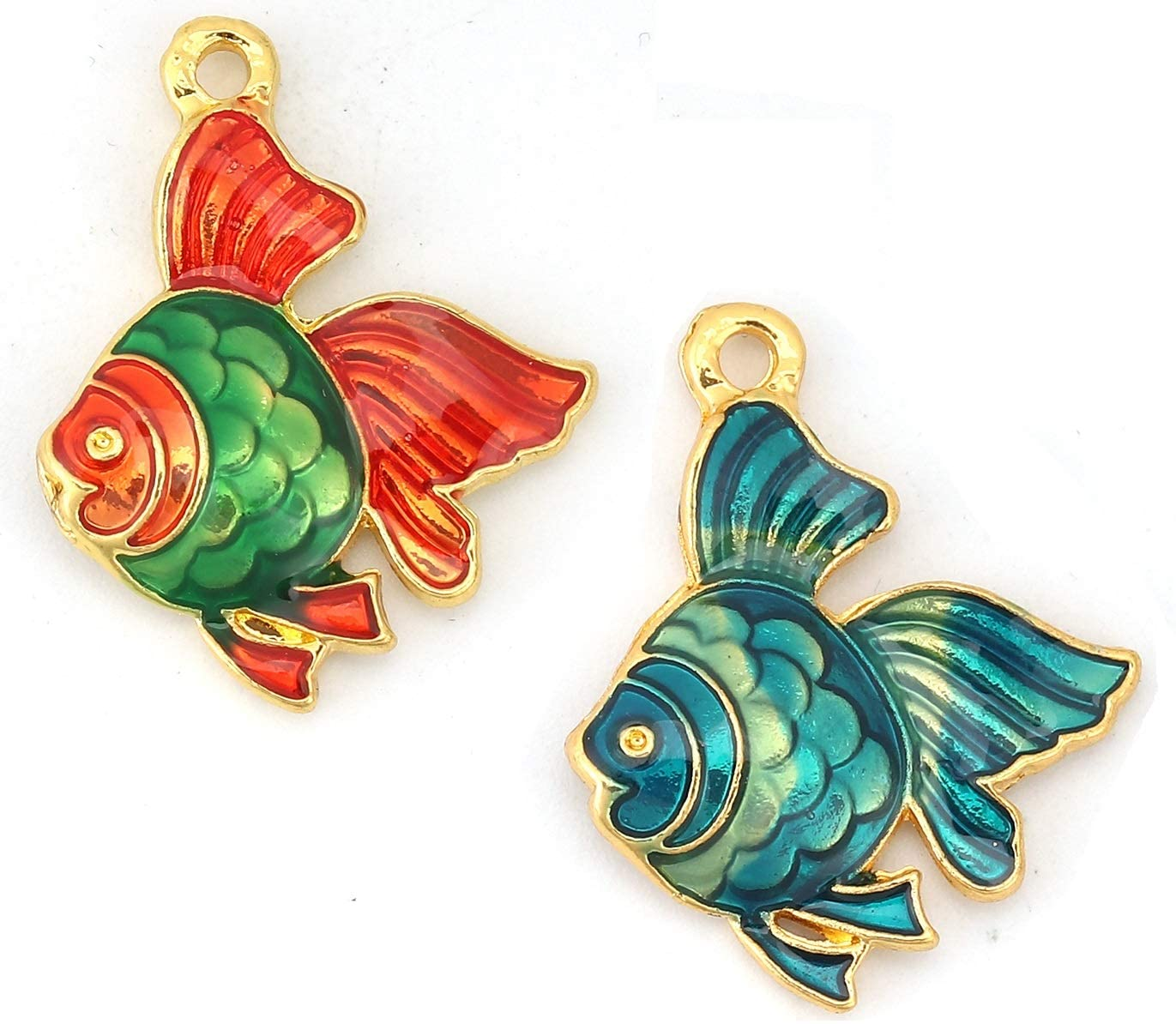 Ocean Fish or Goldfish Enamel Charms, 10 Pack, Gold Tone 3/4 Inch (Set B)