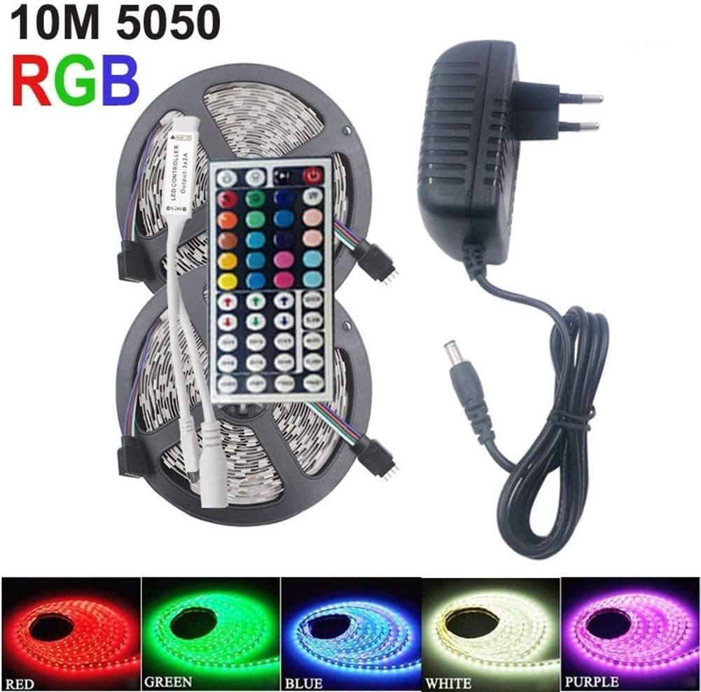 JELO Premium Led Strip Lights, Led Strip Lights with Remote RGB LEDs Tape Led Strip Lights for Bedroom,Kitchen Professional & Upgraded (Color : 10M WP, Size : 5050 No Box)