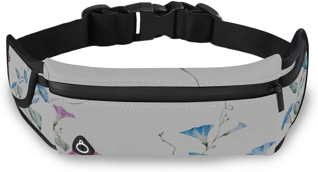 Blue Morning Glory Flowers Girls Bag Fashion Travel For Bags Waist Packs For Kids With Adjustable Strap For Workout Traveling Running